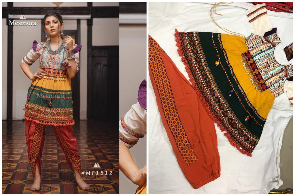 Multi Color Khadi Embroidered Ladies Kedia And Tulip Pants
