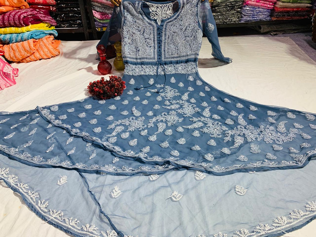 Grey Embroidered Dual Layer Gown Latest Style Kurtis India Online