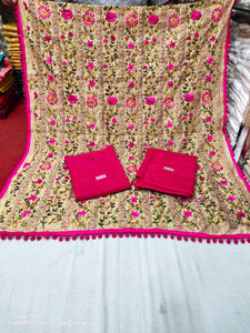 Pink Chikankari Kurti Sequins highlights Kashmiri heavy work raw silk  Dupatta