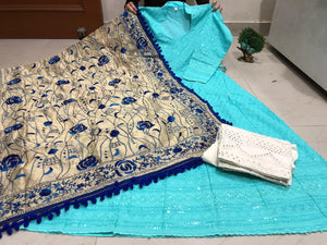 Sky Blue Chickenkari Sequins Work Anarkali Palazzo Salwar Suits