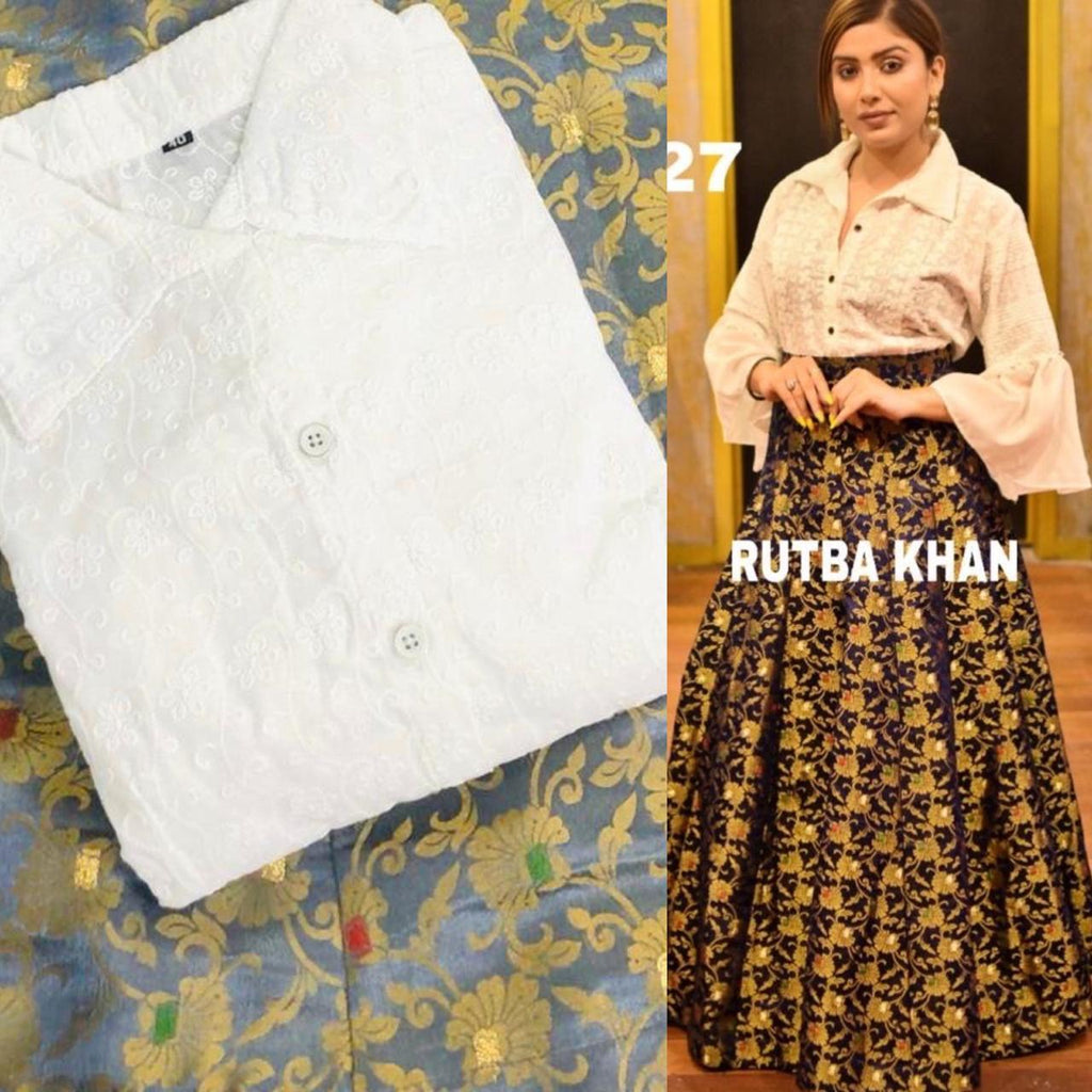 Grey Brocade Skirt With White Chikankari Shirt Fashionable Ethnic Dresses