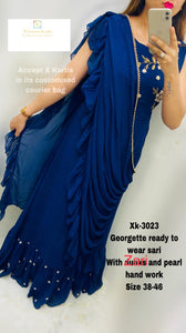 Blue Georgette readymade saree with Zari and pearl Handwork