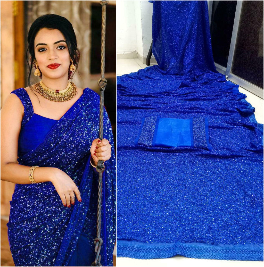 Sequined Georgette Combo Sleeveless Saree Online Shop
