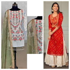 Red Bandhej and White Georgette Embroidered Kurti Suit Combos
