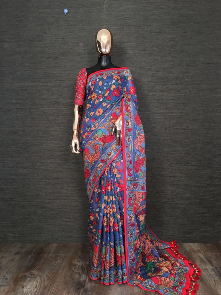 Blue Linen With Print Tassels Sarees Online Buy