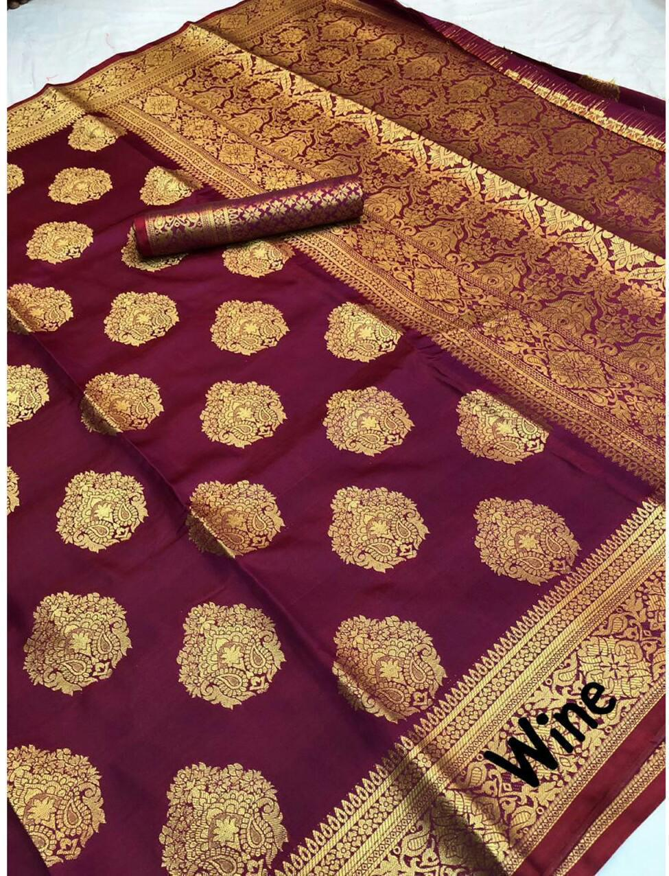 Wine Banarasi Weaving Soft Silk With Zaree Brocket Blouse With All Over Butti Weaves