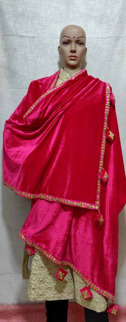 Pink Velvet With Dangles Dupatta Online Shopping