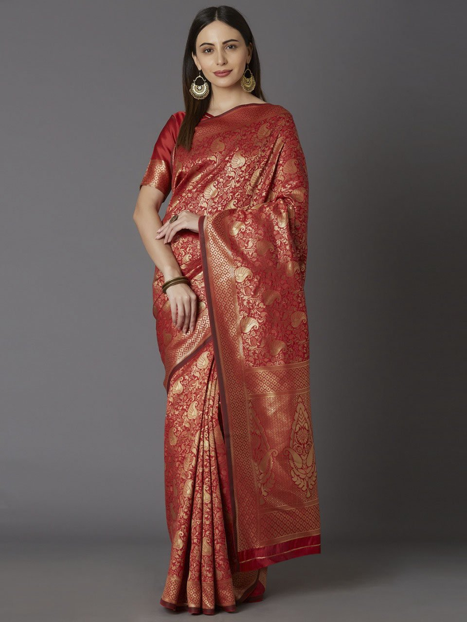 Awesome Red Woven Design Banarasi Saree