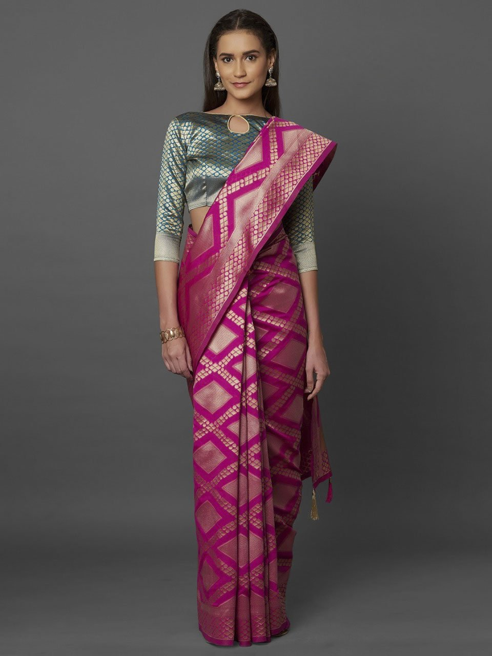 Adorning Pink Woven Design Banarasi Saree