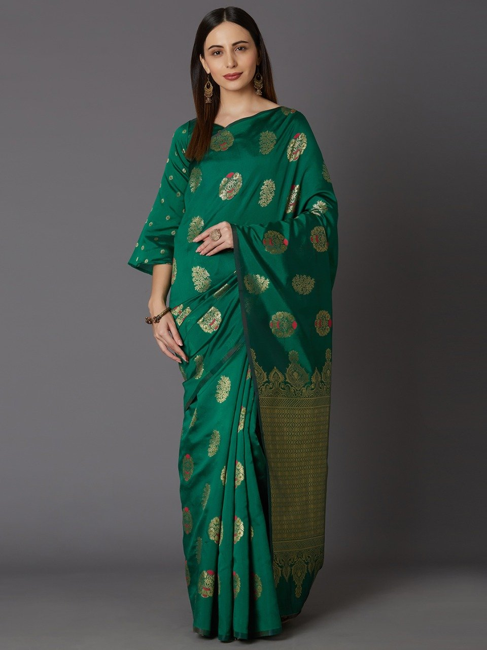 Trendy Green Woven Design Banarasi Saree