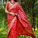 Pretty Pink Women's Woven Design Banarasi Saree