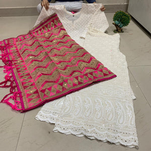 White Pure Cotton Chikan Embroidered Sequins Work Kurti Sharara  With Phulkari Zigzag Kantha Handicraft Dupatta