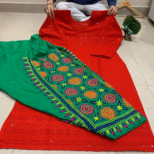 Red & Green Sequence Chikankari Kurti With Handwork Kantha Salwar