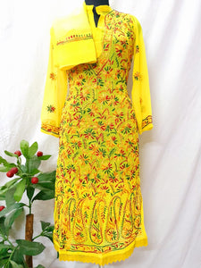 Yellow Georgette  Ghass Patti Work Chikankari Kurti With Stole