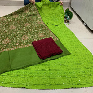 Green  Pashmina Shawl With Chickenkari Anarkali Sequence Work Kurti & Plazoo