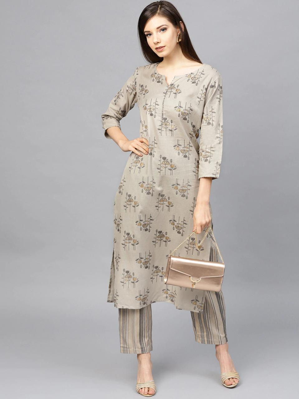 Grey & Golden Printed Kurta With Trousers (Jaipuri Kurta trouser Set)