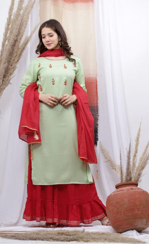 Green Adda Handworked  Jaipuri Kurta Sharara Dupatta Set