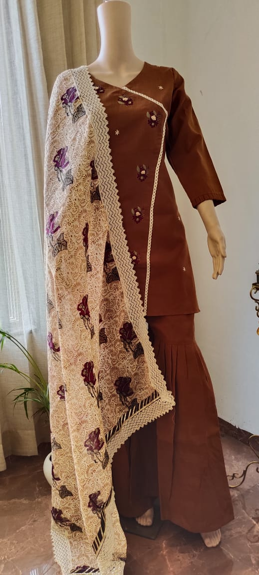 Beautiful cambric cotton kurta , sharara & cotton printed Dupatta