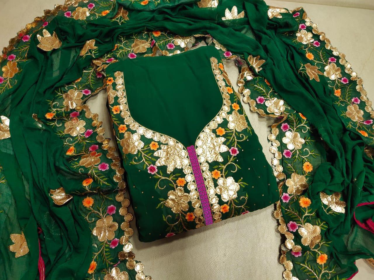 Dark Green  Georgette Gotapatti Suit