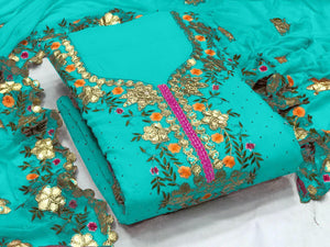 Teal Blue Georgette Gotapatti Suit