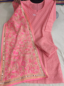 Peach  Cotton Fabric Beautiful Chikan Embriodered Sequins Kurti &   Plazzo With Stole