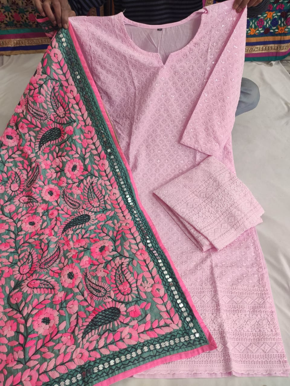 Pink  Cotton Fabric Beautiful Chikan Embriodered Sequins Kurti & Pink  Plazzo With Stole