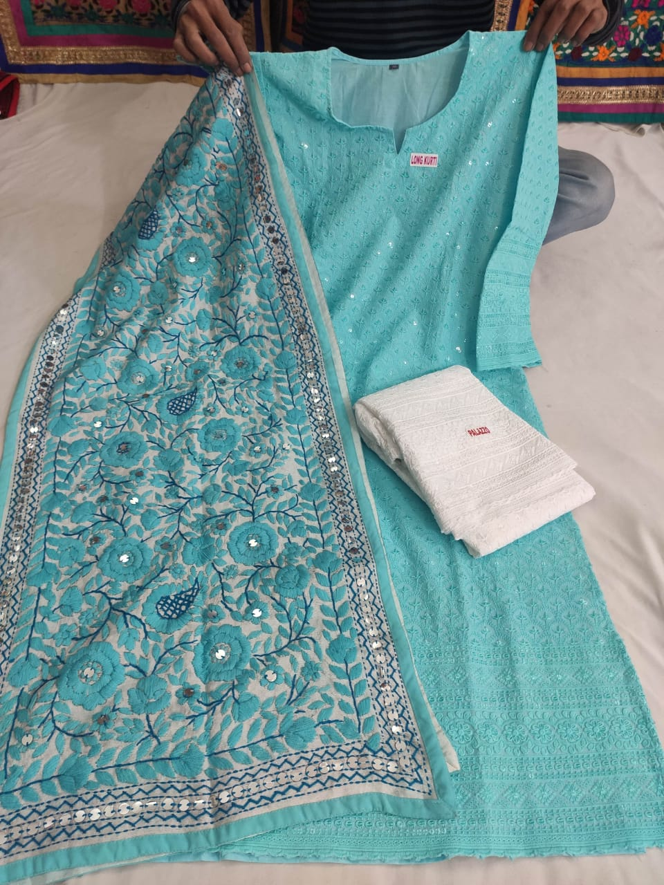 Light Blue Cotton Fabric Beautiful Chikan Embriodered Sequins Kurti & White Plazzo With Stole