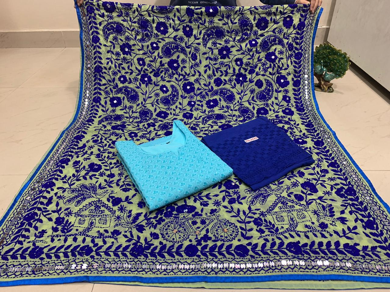 Beautiful Kashmiri heavy work raw silk  Duppata With Light Blue   Pure cotton Chikan work Kurti  & Dark Blue  Pure cotton zari  work plazo