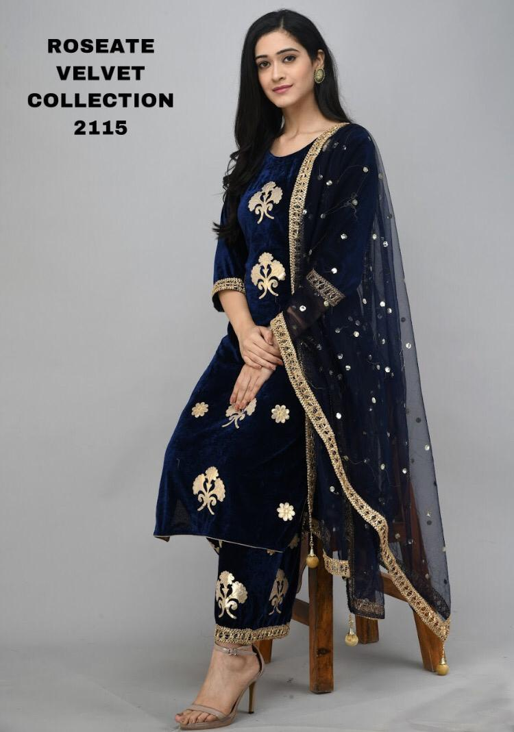 Blue  Velvet Kurti With Plazo &Dupatta