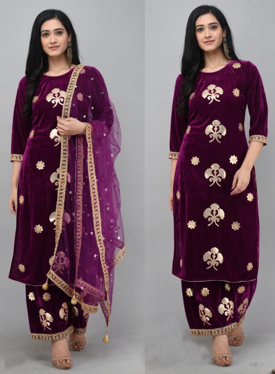 Wine  Velvet Kurti With Plazo &Dupatta