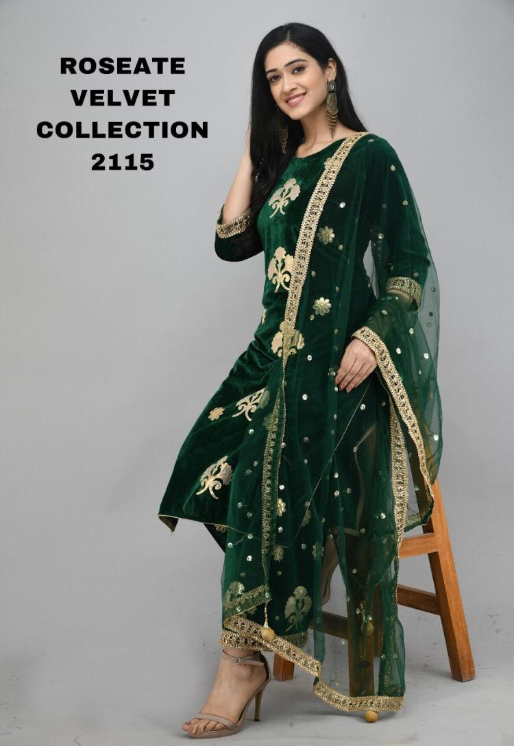 Dark Green  Velvet Kurti With Plazo &Dupatta
