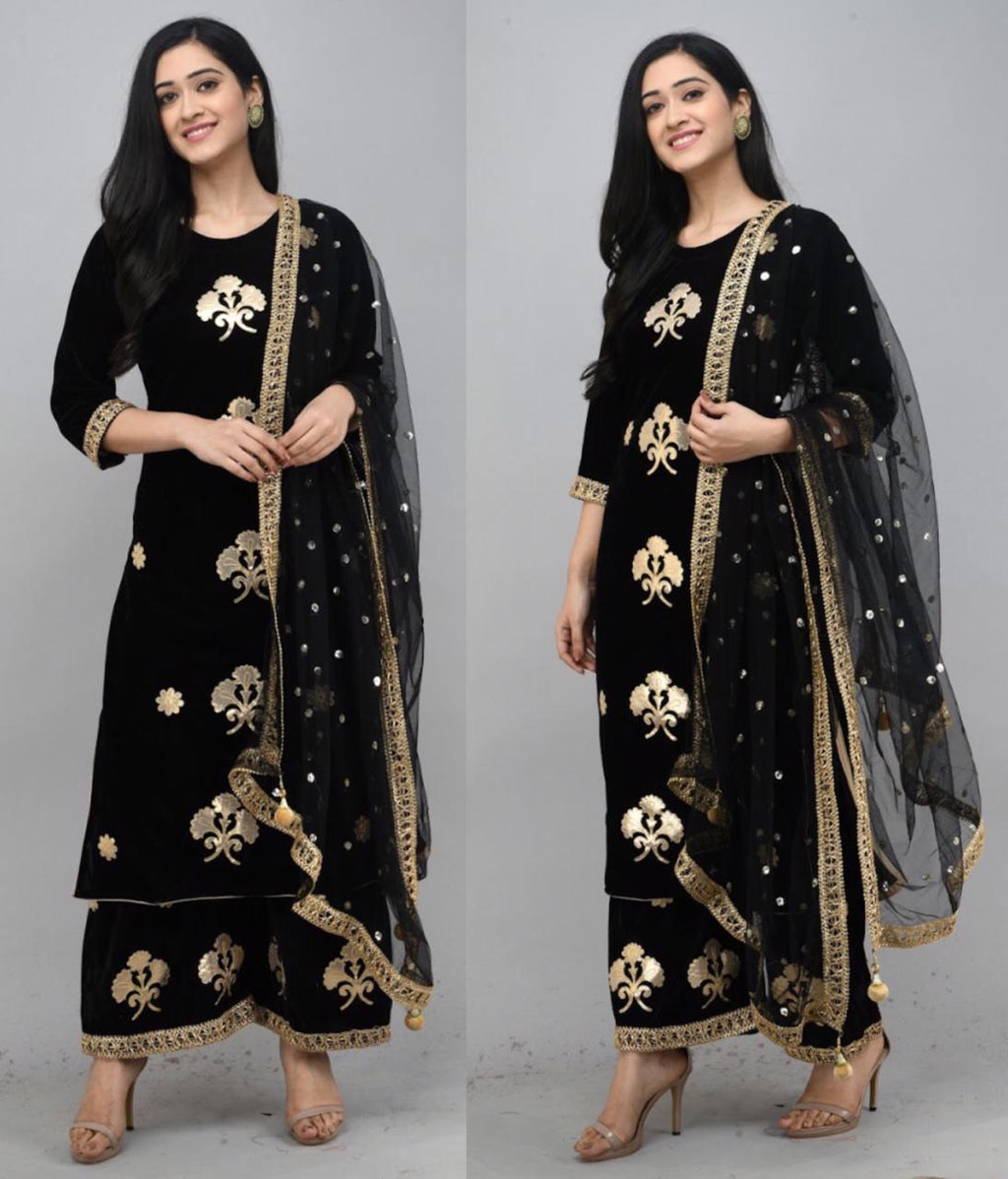 Black Velvet Kurti With Plazo &Dupatta