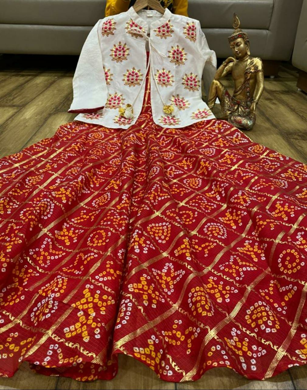 Premium Zari Silk Ghatchola Gown With Silk  Jacket