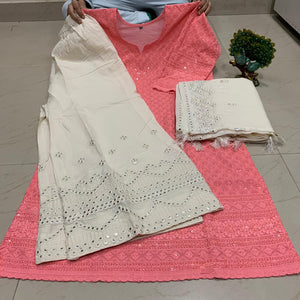 Peach Pink  & White  Cotton Fabric Beautiful Chikan Embriodered Kurti , Sharara & Dupatta