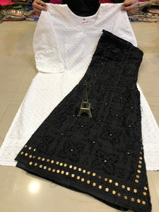 White   Chikankari kurti &  Black  Handwork Super Raw Silk  Mastani set.
