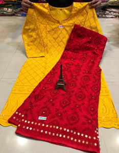 Mustard Yellow  Chikankari kurti &  Red   Handwork Super Raw Silk  Mastani set.