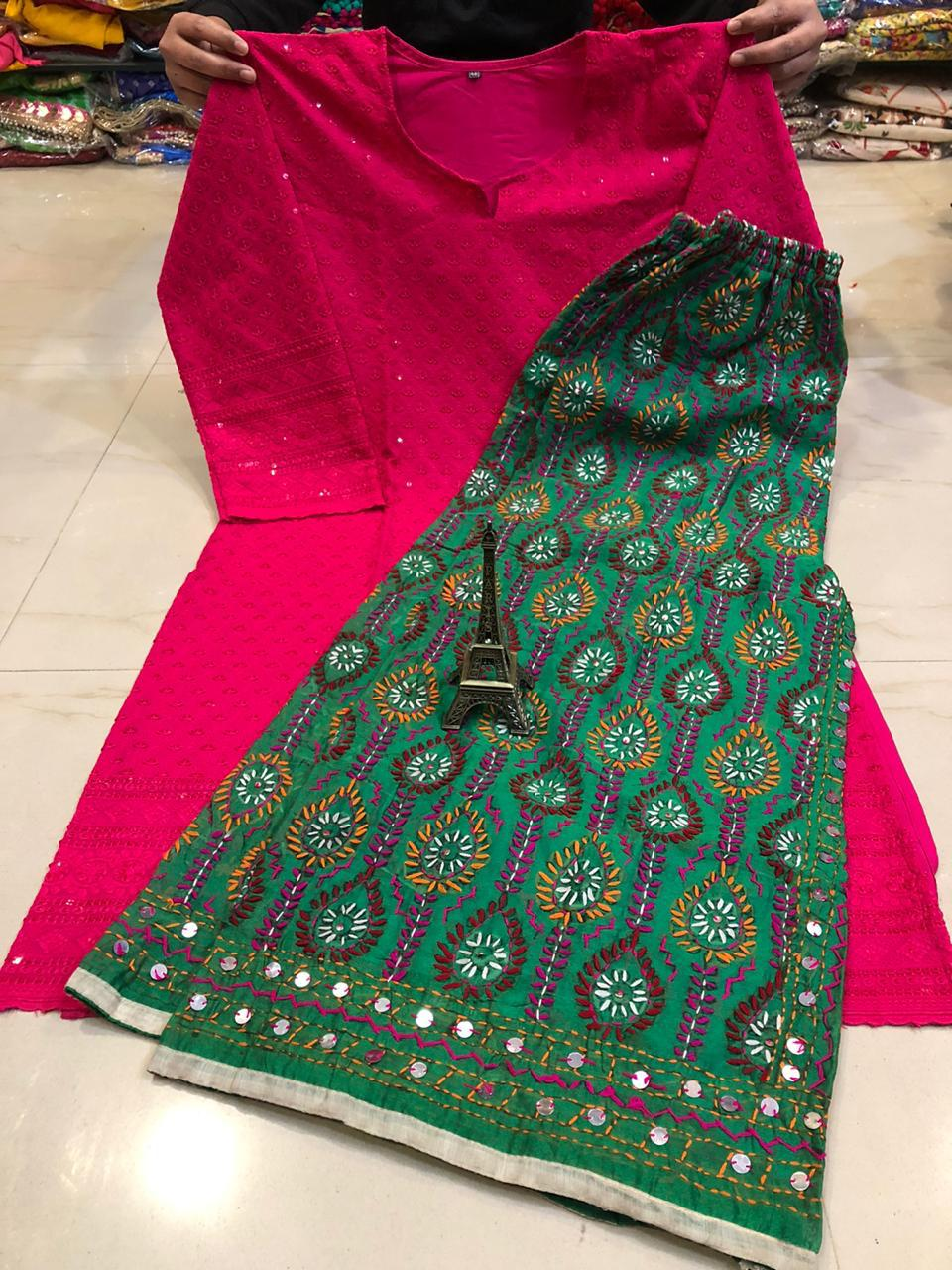 Dark Pink  Chikankari kurti & Green  Handwork Super Raw Silk  Mastani set.
