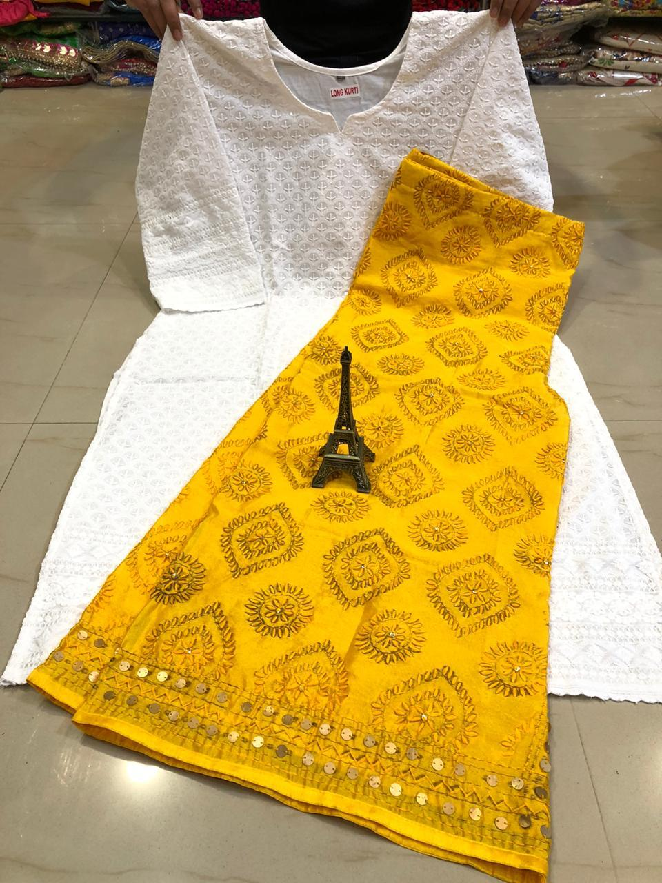 White  Chikankari kurti & Yellow  Handwork Super Raw Silk  Mastani set.