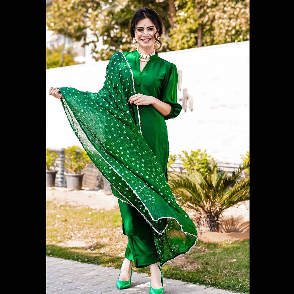 Gorgeous Green Bandhej Suit Ste