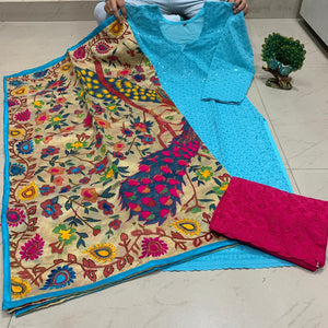 Sky Blue Sequence work Chickenkari Kurti & Red Plazo With Handwork Dupatta