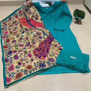 Teal  Blue  Sequence work Chickenkari Kurti &   Plazo With Handwork Dupatta