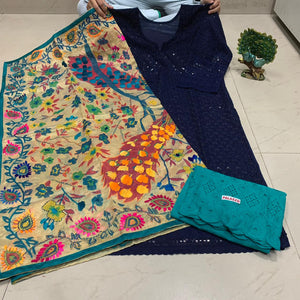 Navy Blue  Sequence work Chickenkari Kurti & Teal  Blue  Plazo With Handwork Dupatta