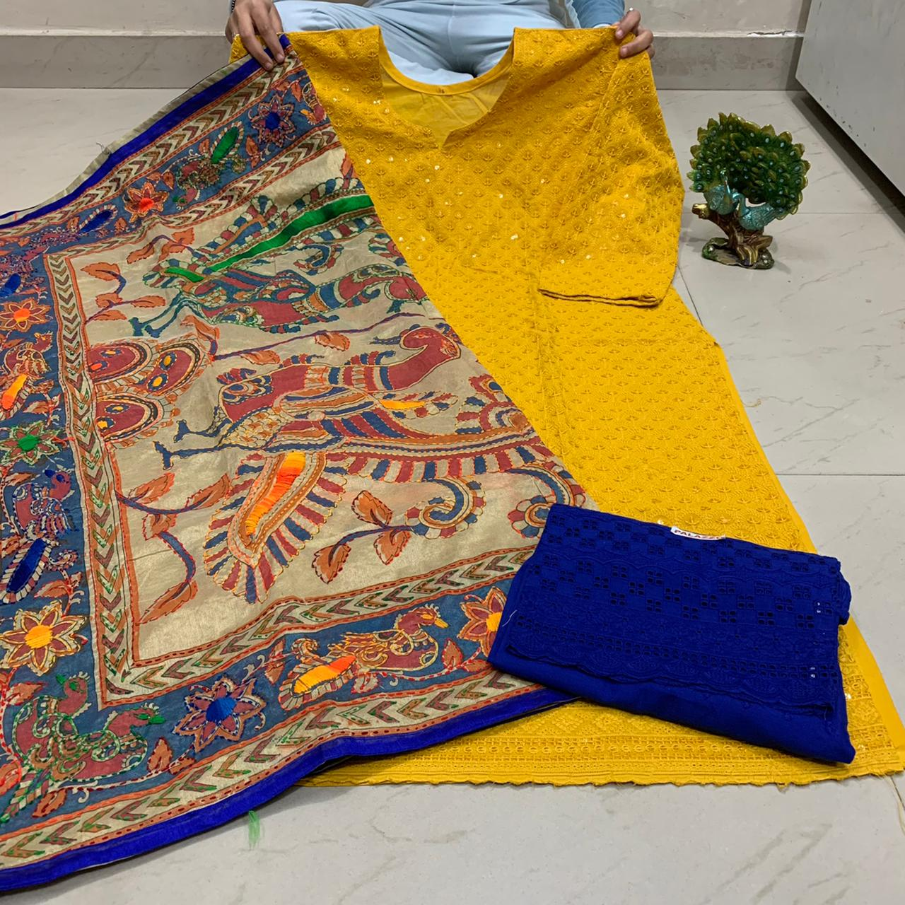 Mustard Yellow   Sequence work Chickenkari Kurti &  Blue  Plazo With Handwork Dupatta