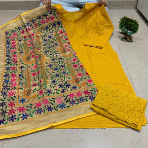 Mustard Yellow   Sequence work Chickenkari Kurti &   Plazo With Handwork Dupatta