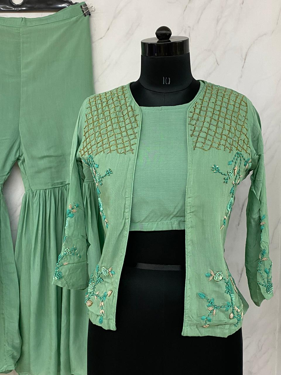 Light Green Muslin Crop Top With Jacket & Sharara