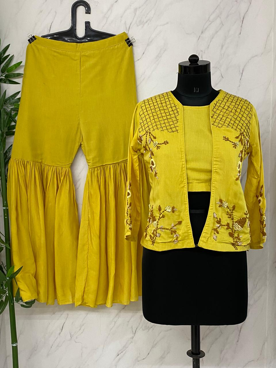 Bright Yellow Muslin Crop Top With Jacket & Sharara
