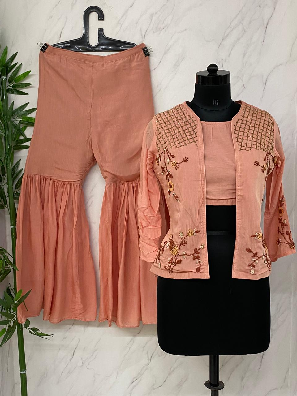Peach  Muslin Crop Top With Jacket & Sharara