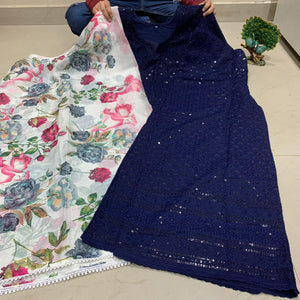 Navy Blue  Chikankari Kurti & Mastani Set With Digital Print Dupatta