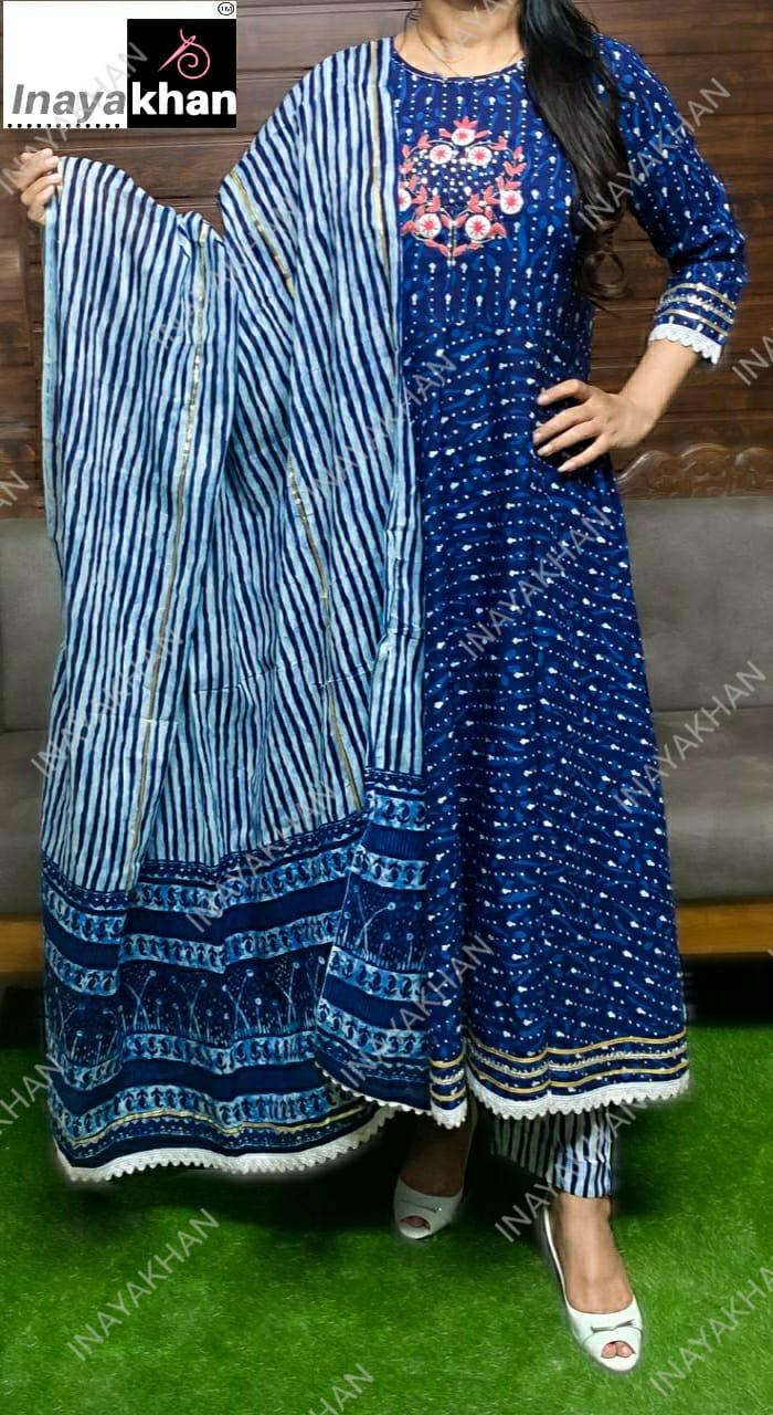 Pure Cotton Indigoprint Full Flare Anarkali Kurti