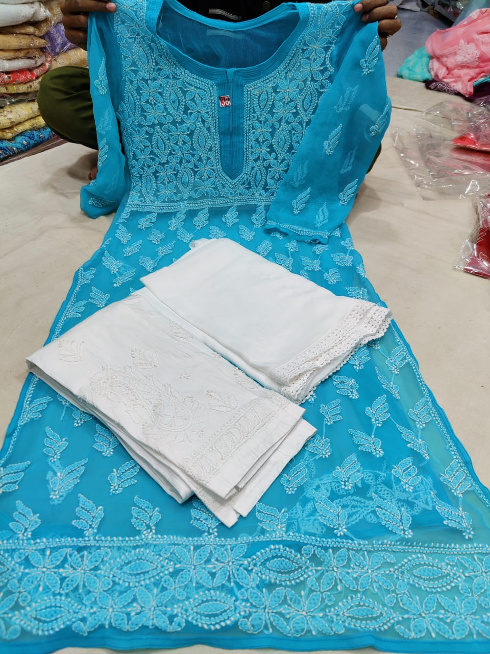 Aqua Blue  Yoke Design Chikan Kurti With Pant & Dupatta